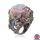 Retro Rose Flower Ring Womens Vantige Crystal Birthstone Floral Rings Jewellery