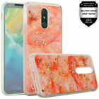 For LG Stylo 5/+/Plus Marble Glitter Cover Case + Tempered Glass Guard