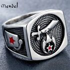 MENDEL Mens Freemason Masonic Shriner Ring Stainless Steel Jewelry Size 8-14