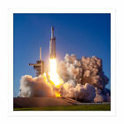 Space X Arabsat-6A Rocket Launch Pad Square Framed Mountless Wall Art 16X16 In