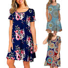 Women Short Sleeve Beach Floral Boho Loose Holiday Dresses Pockets Summer Dress