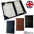 Leather Golf Score Card Holder Deluxe PU with 2 Score Sheets Book Cover Gift UK