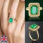 18k Gold Plated Green Cubic Zirconia Ring Womens Princess Wedding Jewellery Gift