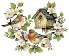 Rustic Birdhouse Birds Twig Flowers Select-A-Size Waterslide Ceramic Decals Bx image
