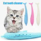 Soft Silicone Fish Shape Cat Toothbrush Cat Tooth Cleaner with Catnip Pet Toys