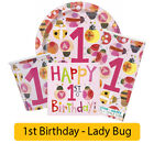 LADYBUG Age 1/1st/First BIRTHDAY Party Range Girl Tableware Supplies Decorations