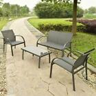 4 Pcs Outdoor Patio Steel Table Chairs Sets Garden Furniture