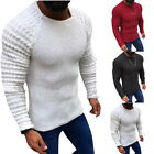1x Fashion Men Neck Pullover Sweaters Autumn Slim Fit Long Sleeve Cable Knitwear