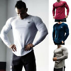 Men's Casual Gym Muscle Long Sleeve T-shirt Fitness Workout Sport Tee Tops image
