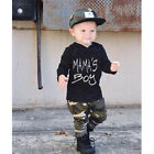 1-6Year Baby Kids Boys Outfit Hooded T Shirt Tops +Camouflage Pants Clothes Set