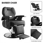 Classic Hydraulic Recline Hair Salon Iron Leather Sponge Barber Chair Black/Red