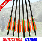6X 16/18/22 Inch Carbon Crossbow Bolts Archery Arrows Bow Changeable Screw Point