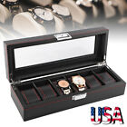Black Carbon Fiber 5/6/10/12 Slot Watch/Jewelry Storage Display Case Box image