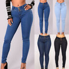 Women Fitness Skinny Denim Jeans Casual Pencil Pants Pleated Bodycon Trousers 41