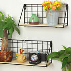Vintage Wall Storage Unit Wood Industrial Style Metal Wire Shelf Rack Craft WH1