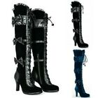 Victorian Gothic Women High Heel Steampunk Tall Lace Up Thigh High Pirate Boots