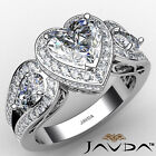 Halo Heart Diamond Engagement Ring Gia Certified F Color & Si1 Clarity 2.75ctw