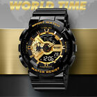 SANDA Men's Military Digital LED Multiple Time Analog Shock Quartz Sports Watch image