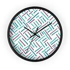 Wall clock with colorful modern minimalistic pattern