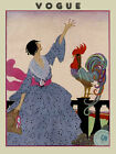 Vogue Cover Fashion Lady with a Rooster Designs Vintage Poster Repro FREE S/H