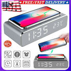 Electric Led Alarm Clock With Phone Wireless Charger Desktop Digital Thermo US