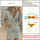 Glitter Sequin Evening Dress Slit Bodycon Womens Cocktail Wrap V Neck Party Sash