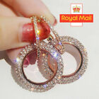 925 Silver Crystal Round Hoop Earrings Womens Jewellery Party Wedding Rose