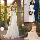 Pregnant Women Lace Floral Long Maxi Beach Dress Maternity Gown Photography Prop