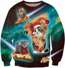 uideazone Unisex Ugly Christmas Sweater 3D Printed Funny Crew Neck Pullover Swea