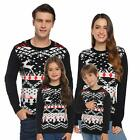 Abollria Christmas Sweater for Family Matching Ugly Christmas Reindeer Knitted S