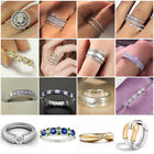 Elegant Women Jewelry 925 Silver Rings White Sapphire Wedding Rings Size 6-10