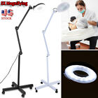 5X LED Magnifier Lamp Rolling Floor Stand Facial Magnifying Salon Beauty Light