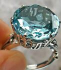 8ct Round Cut Sim Aquamarine Sterling Silver Round Luv Love Leaf Filigree MTO