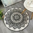 Uphome 2ft Round Small Area Rug with Chic Pom Pom Fringe Luxury Mandala Boho Vel