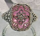 Art Deco Rose-Glass Solid Sterling Silver 1930's Filigree Ring Made To Order