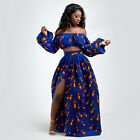 Fashion African Floral printed Woman High-waist Long Skirt Slit /Crop Top Pick