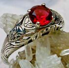 Edwardian Sim Red Ruby Wedding Solid Sterling Silver Etched Filigree Ring MTO