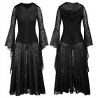 Punk Rave Gothic Long Dress Coat Jacket Cloak Womens Black Steampunk Witch Wicca