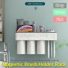 Toothbrush Cup Holder Magnetic Toothpaste Storage Rack Wall Mount Bathroom