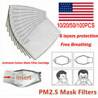 Kyпить 10-100Pcs Activated Carbon Filter For Face (PM2.5) Insert 6 Layers Filter US на еВаy.соm