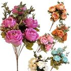 Artificial Flowers 7 Heads Silk Peony Bunch Wedding Bouquet Home Party Decor
