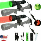 400Yards Red Green Coyote Predator Hunting Light Zoomable Flashlight Scope Mount