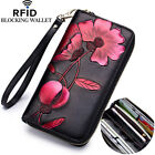 Genuine Leather Flower Womens Long Clutch Wallet RFID Blocking Credit Card Holde