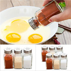 12/24Pcs Glass Spice Jars Bottles Square Clear Salt Herbs Container with Lids US