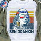 Ben Drankin 4th of July Funny Benjamin Franklin Drinking T Shirt White