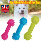 Dog Rubber Teething Chew Toy 14CM Bone Play Training Barbell Barbed Dumbbell UK