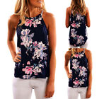 Women Sleeveless Flower Printed Tank Top Casual Blouse Vest T Shirt US