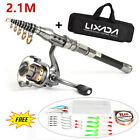 Lixada 1.5/1.8/2.1/2.4M Telescopic Fishing Rod Spinning Reel Combo Full Kit Set