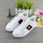 Womens Lace Up Embroidery Bee Flat Heels Running White Trainers Shoes UK STOCK
