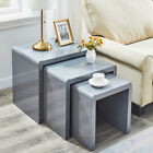 Nest of 3 Tables High Gloss Coffee Side Table with Tempered Glass Top End Table